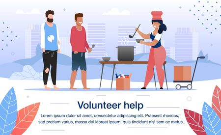 welfare volunteer help for homeless people trendy flat vector banner, poster template. female volunteer or social worker cooking hot food for beggars, feeding poor men on city streets illustration