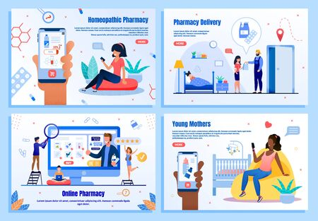 Homeopathic Pharmacy, Medicines Delivery Service, Online Drugstore, Shop for Babies Trendy Flat Vector Web Banner, Landing Page Templates Set. People Shopping in Internet with Smartphone Illustration