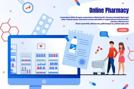 Online Pharmacy Shopping Service Trendy Flat Vector Web Banner, Landing Page Template. Happy People, Couple Searching, Choosing and Purchasing Pharmaceutical Products in Internet Store Illustration