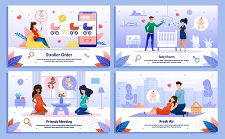 Friends Relations in Pregnancy, Pregnant Woman Shopping and Leisure Trendy Flat Vector Banner, Poster Set. Lady Buying Goods Online, Meeting Friend, Decorating Baby Room, Having Picnic Illustration Vettoriali