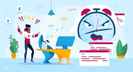 Stress at Work, Time Management Trendy Flat Vector Concept. IT Industry Freelancer, Programmer Frustrated and Stressed Because of Project Deadline Failure, Lack of Time for Finishing Work Illustration Çizim