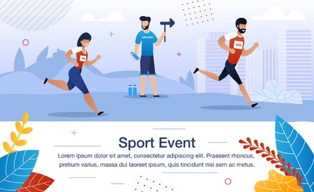 Sport Event Trendy Flat Vector Banner, Poster Template. Male Volunteer Helping Athletes During Competition, Man Standing on Water Point, Showing Direction for Runners on Marathon Race Illustration