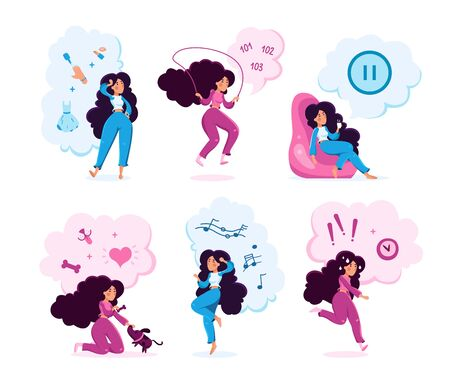 Modern Woman Daily Routine Trendy Flat Vector Characters Set. Young Lady Choosing Makeup, Doing Fitness Exercises, Relaxing at Home, Feeding Pet, Enjoying Music, Feeling Worries Isolated Illustration Illustration