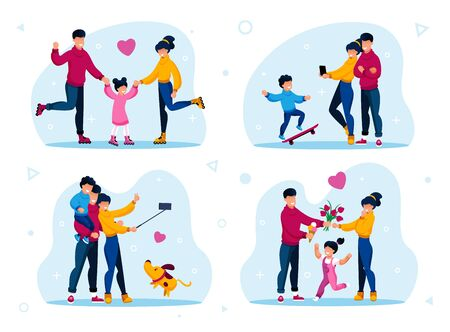 Family Active Lifestyle, Leisure Trendy Flat Vector Set. Parents with Children Riding Roller-Skates, Photographing Sons Skateboard Trick, Shooting Selfie, Spending Time Together Isolated Illustrations Çizim