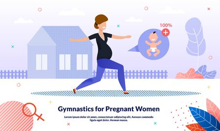 Healthy Lifestyle and Physical Activity During Pregnancy Trendy Flat Vector Banner, Poster Template. Happy Pregnant Woman, Active Lady Doing Gymnastics Situps and Stretching Outdoors Illustration