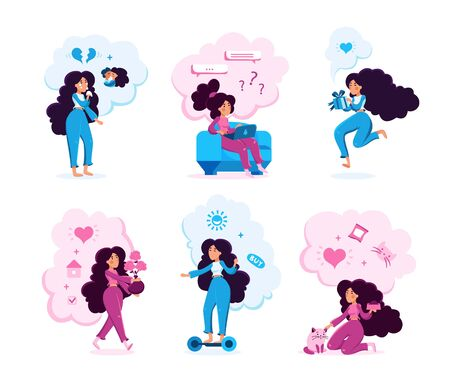 Woman Routines Scene Trendy Flat Vector Characters Set. Lady Crying Because of Love Break, Chatting Online, Feeding Pet, Decorating Home, Celebrating Holiday, Rides Hoverboard Isolated Illustration Ilustração