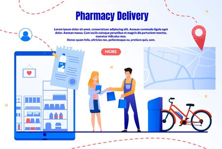 Medicines Fast Delivery Service Trendy Flat Vector Web Banner, Landing Page Template. Deliveryman, Courier Giving Packets with Purchases to Woman on City Street, Lady Shopping in Internet Illustration Ilustração