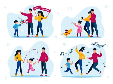 Preschooler Children Active Life, Happy Parenthood Trendy Flat Vector Concepts Set. Parents with Child Celebrating Birthday, Making Memorable Photos, Launching Kite, Dancing Together Illustrations