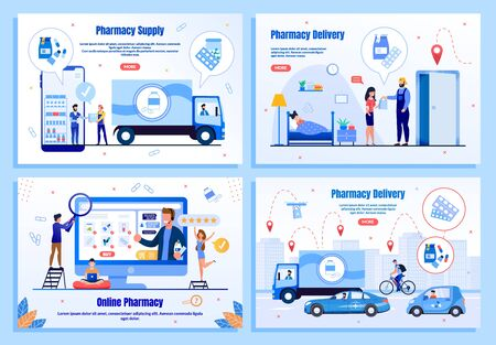 Pharmacy Delivery Service Trendy Flat Vector Web Banners, Landing Pages Set. Supplier Delivering Order to Drugstore, Customers Purchasing Medicines in Internet, Couriers Shipping Goods Illustration