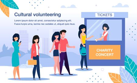 Cultural Volunteering on Charity Event Trendy Flat Vector Banner, Poster Template. Female Volunteer in Tickets Cabin Selling Passes to Charity Concert for People, Tourists, Visitors Illustration