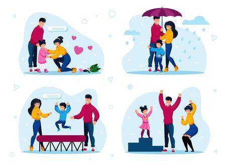 Happy Family Routinen und Aktivitäten Trendy Flat Vector Concepts Set. Eltern beruhigen weinende Tochter, gehen unter Regenschirm im Regen, springen auf Trampolin, feiern Kindersieg Illustration Vektorgrafik