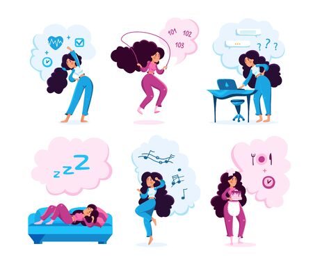 Modern Woman Life Situations Trendy Flat Vector Characters Set. Young Lady Doing Fitness Exercises, Rope Jumping, Messaging Online, Resting on Sofa, Listening Music, Cooking Cake Isolated Illustration