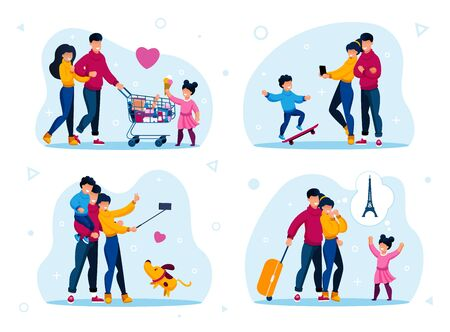 Family Life Routines and Recreation Trendy Flat Vector Concepts Set. Parents with Child Buying Groceries in Store, Shooting Selfie Photo with Phone, Going on Vacation Journey Isolated Illustrations