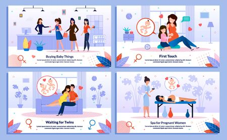 Relationships in Pregnancy, Pregnant Woman Shopping, Healthy Leisure Trendy Flat Vector Banner, Poster Set. Lady Buying Baby Clothing, Talking with Kid, Relaxing in Spa, Waiting Twins Illustration Ilustrace