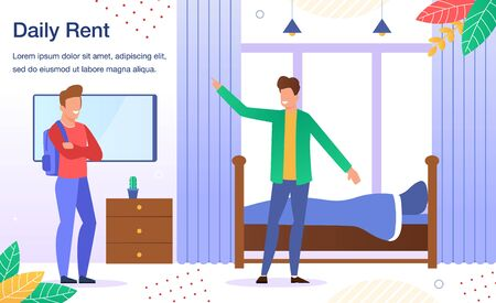 Apartment Room or House Daily Rent Offer Trendy Flat Vector Advertising Banner, Promo Poster Template. Real Estate Agent, Realtor or Property Owner Welcoming Male Client, Showing Room Illustration