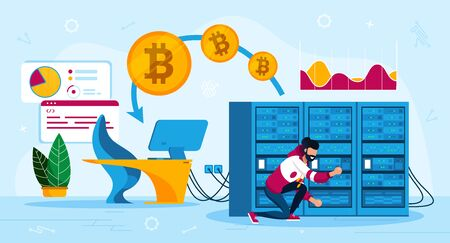 Bitcoin Mining Business Equipment Trendy Flat Vector Concept. Cryptocurrency Mining Farm Male Owner Making Hardware Service or Maintenance, Changing Software Settings, Repairing Server Illustration