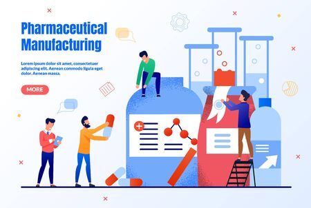 Pharmaceutical Manufacturing Trendy Flat Vector Web Banner, Landing Page Template. Pharmaceutical Company Workers Team, Scientist Group, Pharmacists Developing Together New Medicines Illustration