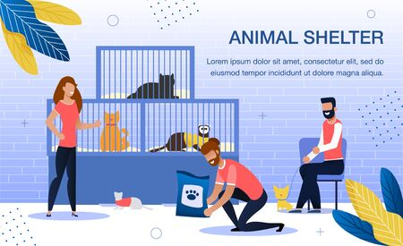 Animal Shelter Volunteering, Homeless Pets Adoption Trendy Flat Vector Banner, Poster Template. Female and Mae Volunteers Group, Men and Woman Taking Care, Feeding Animals in Shelter Illustration Illusztráció