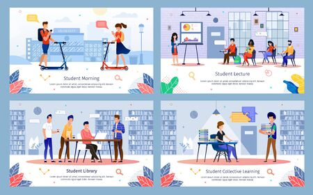 Students Lifestyle, Study in College Daily Routine, University Education Time Trendy Flat Vector Banners, Posters Templates Set. Student Work in Library, Going on Scooter, Visit Lecture Illustration