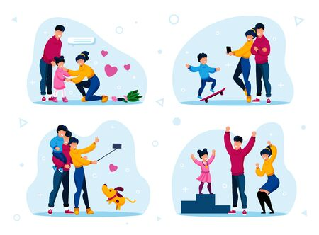 Happy Family Life Situations Trendy Flat Vector Concepts Set. Parents Calming Down Crying, Worried Daughter, Shooting Selfie Photos, Celebrating Kid Victory in Sport Competition Isolated Illustrations Ilustração