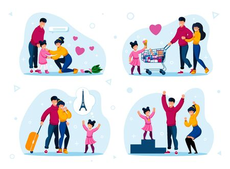 Family Support and Vacation Leisure Trendy Flat Vector Concepts Set. Parents Calming Down Crying Daughter, Shopping in Grocery Store, Planning Touristic Trip, Celebrating Kids Achievement Illustration