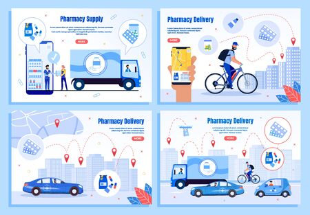 Medicines Delivery Company or Service Trendy Flat Vector Web Banners, Landing Pages Templates Set. Supplier Delivering Order to Drugstore, Couriers Transporting Medicines to City Clients Illustration Vettoriali