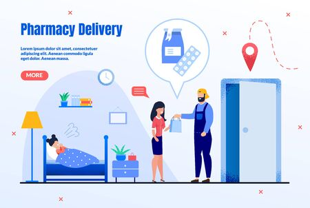 Pharmacy Delivery Service Trendy Flat Vector Web Banner, Landing Page Template. Male Courier or Deliveryman Giving Packet with Goods to Client, Mother Buying Medicines for Sick Daughter Illustration Vettoriali