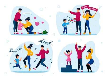 Family Happy Relationships Trendy Flat Vector Concepts Set. Parents Calming Down Worried Kid, Giving Birthday Gift to Child, Happy Dancing, Celebrating Daughters Sport Victory Isolated Illustrations