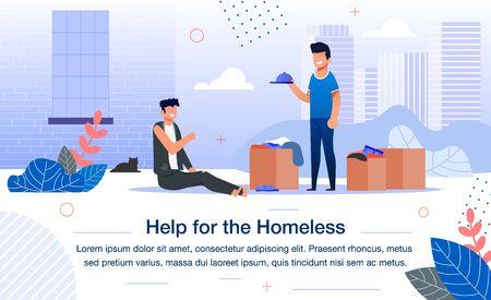 Soziale Hilfe für Obdachlose Trendy Flat Vector Banner, Poster Template. Männlicher Freiwilliger oder Sozialarbeiter, der Armen Kleidung mit Spenden aus der Kiste gibt und Bettler auf der Stadtstraße hilft Vektorgrafik