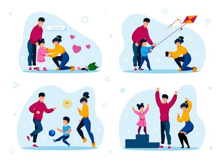 Family Outdoor Recreation and Relationships Trendy Flat Vector Concept Set. Parents Calming Crying Daughter, Launching Kite, Playing Ball, Proud of Child Win in Sport Competition Isolated Illustration