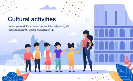 Cultural Activities for Schoolchildren Trendy Flat Vector Banner, Poster Template. Female Teacher, Excursion Guide Showing Historical, Architectural Attraction, Ancient Building for Kids Illustration