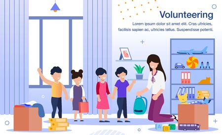 Volunteering in Kindergarten, School or Orphanage Trendy Flat Vector Banner, Poster Template. Female Volunteer, Young Teacher Playing with Preschooler Kids, Conducting Lesson in Classroom Illustration
