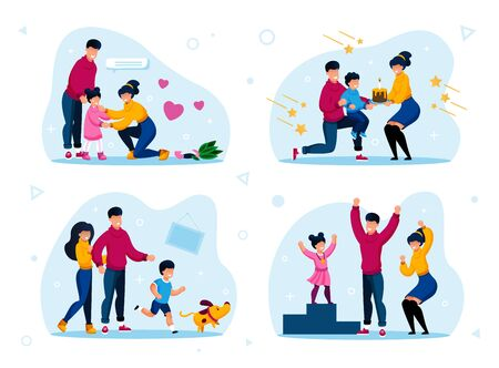 Family Life Happy Moments Trendy Flat Vector Concepts Set. Parents Calming Down Crying and Worried Child, Greeting Kid with Birthday, Playing with Dog, Celebrating Sport Victory Isolated Illustration