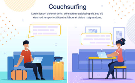 Online Service Trendy Flat Vector Ad Banner, Promo Poster Template. Traveling Man, Male Tourist Surfing in Internet, Searching Place to Stay, Messaging to Network Member Illustration Illusztráció