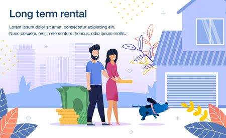 Rental Home for Young Family Trendy Flat Vector Advertising Banner, Promo Poster Template. Happy Couple with Dog, Wife and Husband Searching, Choosing Cottage house for Long- Term Rent Illustration