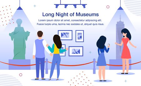Long Night of Museums Trendy Flat Vector Banner, Poster. Female and Male People, Visitors, Tourists Visiting Museum Exposition at Night, Looking at Sculptures, Painting and Installations Illustration
