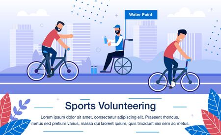 Sports Volunteering on International Competition Trendy Flat Vector Banner, Poster. Volunteer, Disabled Man in Wheelchair Helping Athletes, Giving Bottles on Water Point During Bike Race Illustration Ilustração