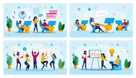 IT Business, Motivation Problems, Corporate Party, Startup Launch Trendy Flat Vector Concepts Set. Developers Failing Deadline, Procrastinating Worker, Dancing Colleagues, Office Meeting Illustration 일러스트