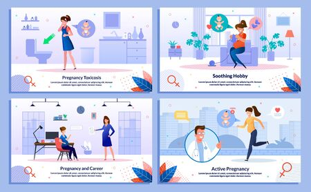 Pregnancy and Career, Morning Sickness, Pregnant Woman Active Lifestyle, Soothing Hobby Trendy Flat Vector Banners, Posters Set. Woman Feeling Nausea, Knitting, Works in Office, Jogging Illustration  イラスト・ベクター素材