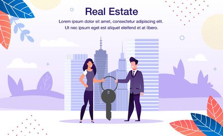 Real Estate Investment, Construction Project Trendy Flat Vector Advertising Banner, Promo Poster Template. Businessman and Businesswoman, Realtor or Business Partners Holding House Key Illustration