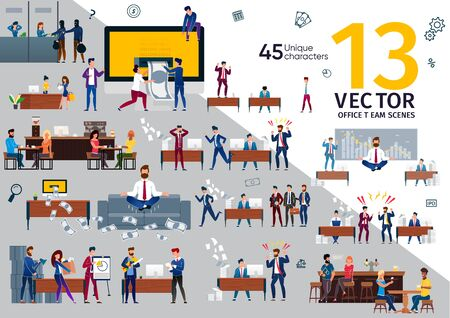 Business Company Employees, Office Workers Work Scenes Trendy Flat Vectors Set. Business Partners on Meeting, Stressed Entrepreneur, Resting and Talking in Bar or Cafe People, Angry Boss Illustrations