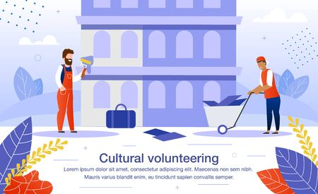 Cultural Volunteering on Architectural or Historical Attraction Reconstruction or Renovation Trendy Flat Vector Banner, Poster Template. Male Volunteers Team Working on Construction Site Illustration Stock Illustratie