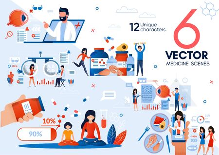 Doctor Online Counseling, Online Medical Services, Healthy Lifestyle and Nutrition Trendy Flat Vector Scenes Set. Ophthalmologist, Nutritionist Giving Recommendations to Patients Online Illustrations