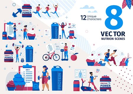 Nutrition for Healthy Body, Dieting for Weight Loss Trendy Flat Vector Scenes Set. Men and Women Characters Running, Doing Fitness Exercises, Eating Supplements for Good Physical Shape Illustrations