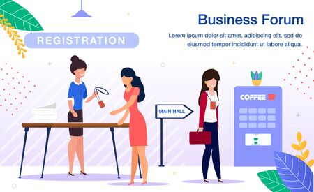 Business Investments Forum, Company Corporate Conference Trendy Flat Vector Ad Banner, Promotion Poster Template. Businesswomen Registering, Receiving Pass Badges at Registration Desk Illustration