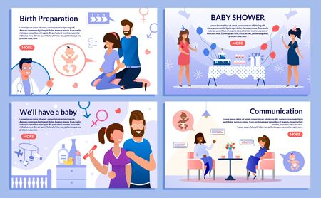 Childbirth Preparation, Baby Shower, Pregnancy Test, Pregnant Woman Communication Trendy Flat Vector Web Banner, Landing Page Set. Woman Doing Exercises, Having Fun on Party, Meets Friend Illustration