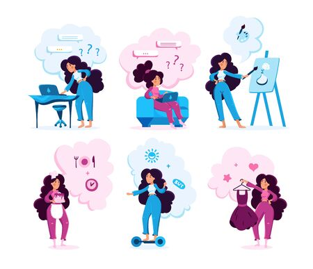 Modern Woman Activities Types Trendy Flat Vector Characters Set. Young Lady Messaging Online, Drawing Paintings, Baking Sweet Pastry, Riding Hoverboard, Choosing Evening Dress Isolated Illustration Stock Illustratie
