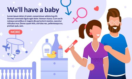 Internet Startup for Future Parents or Pregnant Trendy Flat Vector Web Banner, Landing Page Template. Pregnant Woman Showing Pregnancy Test to Husband, Couple Preparing to Childbirth Illustration Ilustração Vetorial
