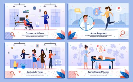 Active Pregnancy, Pregnant Woman Career and Shopping Trendy Flat Vector Banner, Poster Set. Woman Buying Baby Clothing, Working in Office, Relaxing in Beauty Salon, Jogging Outdoors Illustration Stock Illustratie