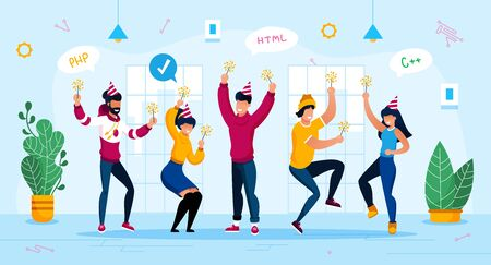 Holiday Celebration, Corporate Party Trendy Flat Vector Concept. IT Company Employees, Software Developers, Programmers Team Having Fun, Dancing Together with Sparklers in Hands in Office Illustration